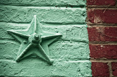 Star on Brick Wall. Wall detail in Georgetown, Virginia Royalty Free Stock Images