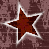 Star Brick Wall Grunge background wallpaper. An illustration of a red star with white glowing outline on a brick wall grunge for use in website wallpaper design stock illustration