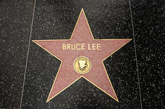 The star of Bruce Lee. On the walk of fame on Hollywood blvd, Los Angeles, California royalty free stock image