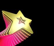 Star burst. Bursting 3d yellow star on black background Royalty Free Stock Images
