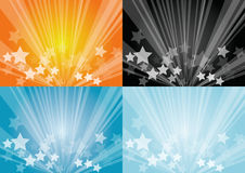 Star burst backgrounds. Collection of four sets vector illustration