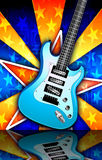 Star Burst Blue Rock Guitar Illustration Royalty Free Stock Image