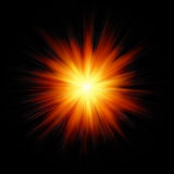Star burst fire. Star burst red and yellow fire on black background Royalty Free Stock Photo
