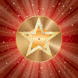 Star burst gold LP. Vector blank golden LP vinyl record on backgtound with red starburst and golden star with diamonds, layered and editable Stock Photos