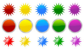 Star burst icons. Illustration of star bursts stickers in different colors Royalty Free Stock Photo