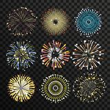 Star burst isolate on transparent background. Big fireworks vector set. Explosion firework light for festival event illustration Royalty Free Stock Photography