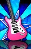 Star Burst pink Rock Guitar Illustration. Pink, white, and black guitar on a blue star burst background Royalty Free Stock Photo
