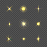 Star burst with sparkles. Golden Star burst with sparkles over transparent background Royalty Free Stock Photos