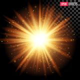 Star Burst with Sparkles. Vector Transparent Lens Flare Effect. royalty free stock photo