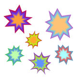 Star bursting boom.Comic book explosion set. Hand drawn vector Royalty Free Stock Image