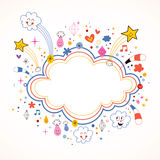 Star bursts cartoon cloud shape banner frame. With copy space stock illustration