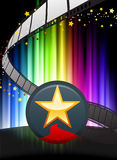 Star Button on Abstract Spectrum Background Stock Photo