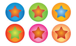 Star Buttons. Collection of star buttons in different colours Royalty Free Stock Photo