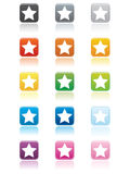 Star Buttons EPS. Large square star buttons in various colors with rounded edges. Reflection placed on separate layer for ease of use. Available in vector EPS stock illustration