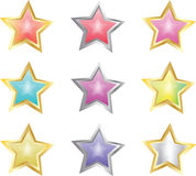 Star Buttons. Set of nine glossy star buttons in various colors Vector Illustration