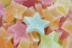 Star Candy. Close up of multi color star shaped candy Royalty Free Stock Image