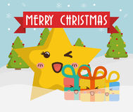 Star cartoon and gifts of Chistmas design Royalty Free Stock Image