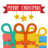 Star cartoon and gifts of Chistmas design Stock Photo