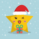 Star cartoon and gifts of Chistmas design Stock Images