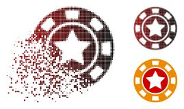 Shredded Pixel Halftone Star Casino Chip Icon. Star casino chip icon in dispersed, dotted halftone and undamaged whole variants. Pixels are composed into vector vector illustration