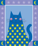 Star Cat. A blue cat is decorated with stars Royalty Free Stock Images