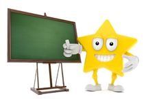 Star character with blank blackboard. Isolated on white background. 3d illustration Stock Image