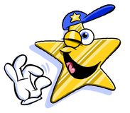 Star character. Cartoon illustration of yellow star character in blue peak cap winking giving OK sign and laughing, white background Royalty Free Stock Photography