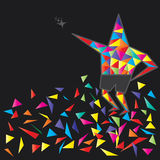 Star character chase star. Illustration abstract colorful star character star shape chase star broken piece black background Stock Images