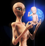 The Star Child Is Born. Concept image showing a newly born alien star child Royalty Free Stock Photos