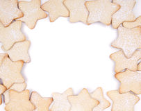 Star Christmas cookies. Framed on white background stock images
