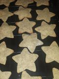 Star Christmas Cookies. Fresh baked cookies right from the oven Stock Photo