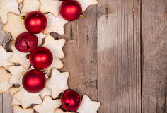 Star Christmas cookies and ornaments Royalty Free Stock Photo