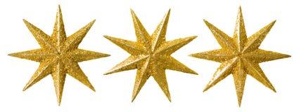 Star Christmas Decoration, Xmas Decorative Ornament, Isolated. Star Christmas Decoration, Xmas Decorative Set, Glitter Ornament Isolated over White Stock Photos