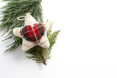 Star Christmas fabric pine branches, isolated background Royalty Free Stock Image