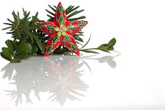 Star Christmas ornament and evergreens on white Stock Images