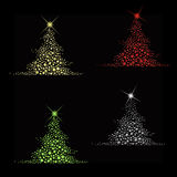 Star christmas tree vector. Set of 4 christmas trees made from stars with big star at the top isolated on black background in vector format royalty free illustration