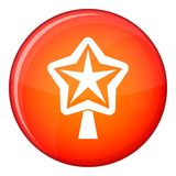 Star for christmass tree icon, flat style Royalty Free Stock Photo