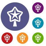 Star for christmass tree icons set. In flat circle reb, blue and green color for web Stock Photo