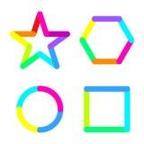Star circle rhomb square logo sign symbol set Royalty Free Stock Photo