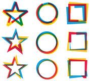 Star Circle Square Logo Set vector illustration