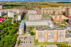 Star City residential complex. Tyumen. Russia. Tyumen, Russia - August 27, 2015: Aerial view on sleeping neighborhood in  Star City complex with new houses Royalty Free Stock Image