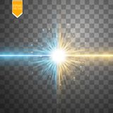 Star clash and explosion light effect, neon shining laser collision surrounded by stardust on transparent background