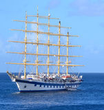 Star Clipper 5 mast cruise ship. Star Clippers visits destinations throughout the Mediterranean, the Caribbean, the Greek Isles and the Panama Canal. This ship Royalty Free Stock Image