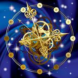 Star clock. Isolated raster version of vector image of gold round clock with decorative hour hands, cogwheels and zodiacal symbols on starry sky (contain the Royalty Free Illustration