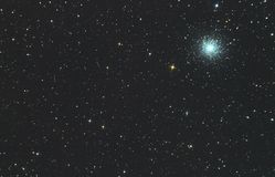 Star cluster of m13 in the constellation of Hercules. A real photo through the mirror telescope of the Newton system Royalty Free Illustration