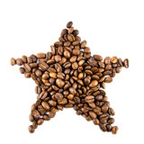 Star from coffee beans isolated on white Royalty Free Stock Image