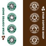 Star coffee shop logo circle style vector set design Stock Photography