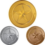 Star Coin Medals Royalty Free Stock Photography