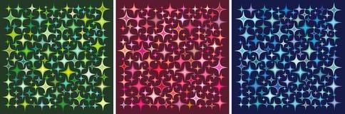 Star a coleção em cores múltiplas sobre o fundo escuro ilustração stock