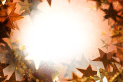 Star collage frame. Layered star frame, surrounding a soft light, with many differently textured and shaped star photographs and shapes Vector Illustration